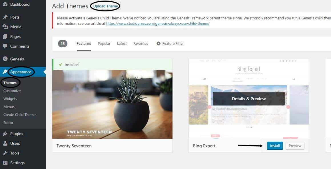 Add WordPress Theme